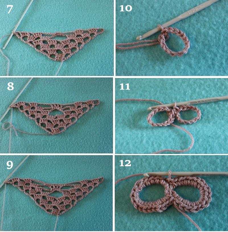 Pañuelo con calaveras crochet - tutorial paso a paso