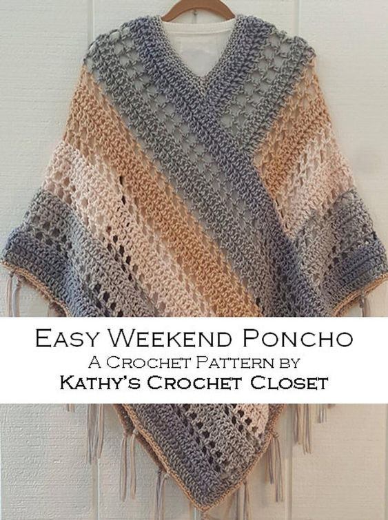 Poncho o Ruana muy sencillo en crochet - Vídeo tutorial